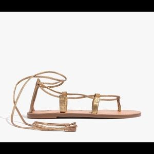 Madewell boardwalk lace up sandal metallic sandal